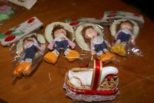 Lot Of 5 (4)Texas Cowgirl Christmas Tree Ornaments Vintage Taiwan Goose In A Bas