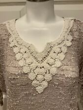 Meadow Rue Anthropologie Tan Loose Knit Sweater w/ White Lace, Size XS