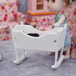 1:12 Doll House Miniature Wooden Bassinet Cot Beds Simulation Model Supplies