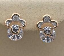 18K Yellow Gold Filled Topaz Ear Stud Zircon Hollow Cubic Cross Lady Earrings AA
