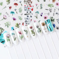 24 Sheets Nail Art Stickers DIY Watercolor Water Transfer Decals Flowers Tips