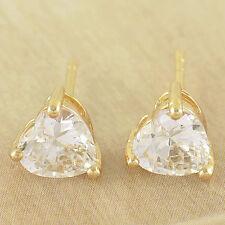 New 9K Yellow Gold Filled Heart Shape 9mm Cubic Zirconia CZ Stud Post Earrings