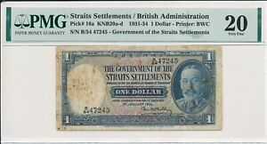 Government of Straits Settlement Straits Settlements  $1 1931 RARE PMG  20
