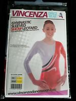 Vincenza Gymnastic Sleeved SHOW Leotard 'Eve' Red & White with Wave & Diamante