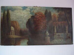 Antique Original Oil On Canvas Landscape Painting, ca. 1700