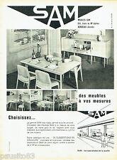 PUBLICITE ADVERTISING 096  1961  SAM  meubles sur mesure  salle à manger