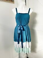 Anthropologie Girls From Savoy Blue Tiered Pleated Swing Dress Women's Size 6