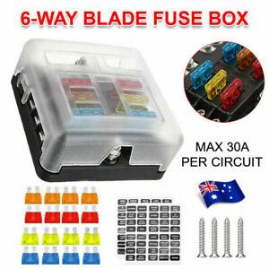 23PC 6 Way Blade Fuse Box Block Holder Indicator LED Light 12V/32V Car Marine AU