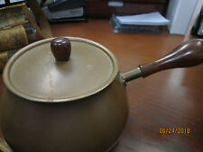 Beautful Copper Fondue Chafing Dish with Wooden Handle and Lid