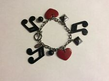 Disney Jonas Brothers Bracelet Toggle Clasp Music Notes Hearts Black Red Silver