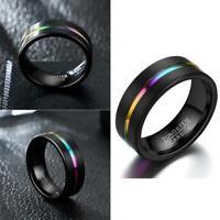 8mm Alloy Black Rainbow Herren Ring Damen Hochzeit Verlobungsband Größe 6- Heiß