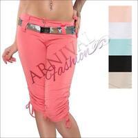 CASUAL CROP PANTS SHORTS ladies 3/4 women STRETCH SHORT TROUSERS LEGGINGS belt