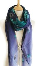 Fab Navy Turquoise Floral Print Pashmina Scarf Wrap Shawl Perfect Gifts New