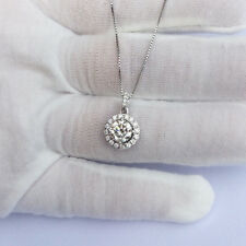 1.00ct 14K White Gold Genuine Round Moissanite Pendant Necklace With Gift Box