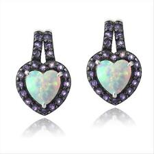 925 Silver Lab Created White Opal & Amethyst Heart Drop Earrings