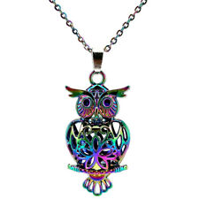 C132 Rainbow Color 41mm Big Owl Magnetic Pearl Oysters Cage Pendant Locket Girl