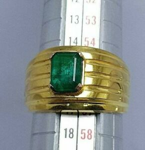 Mens Yellow Gold Emerald Ring Rich Green Emerald Wedding Rings Anniversary Rings