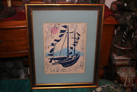 Vintage Nautical Sailboat Lithograph Woodblock-1963-Signed R. Hanning-Framed