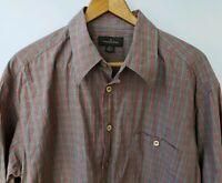 Ermenegildo Zegna Mens Striped Button Front Shirt Size XL Gray Red