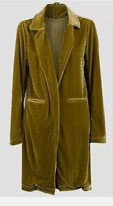 Women's Open Front Velvet Coat, Avocado Green, UK Size 8-16, BNWT, RRP £29.95...