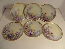 6 Antique Limoges Dessert Plates Hand Painted Lavender Flowers Signed 1907