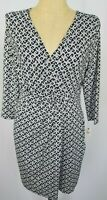 Talbots Dress Large Petite PL Black White Faux Wrap 3/4 Sleeve Stretchy NWT