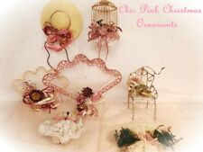 Fabulous shAbBy Victorian cHiC Pink Xmas Tree Cottage Ornaments FANCY Lot of 7