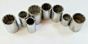 "Craftsman Made in USA Standard Sockets lot of  8 VGK  1/2"" Drive"