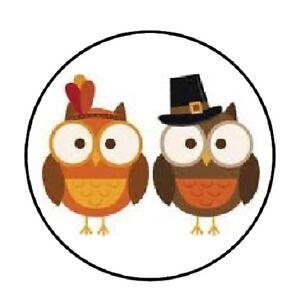 "48 Thanksgiving Owls!!!  ENVELOPE SEALS LABELS STICKERS 1.2"" ROUND"