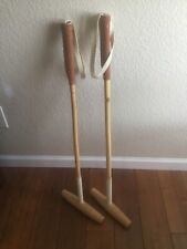 Pair of Polo Mallets. Junior size. For use or display. Bamboo wood.