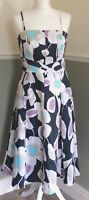 Laura Ashley Floral Fit & Flare Dress Lightly Boned Wedding Cruise Party UK 12