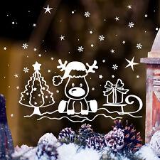 Fensteraufkleber Kleiner Elch auf Schlitten Weihnachten 10471 Schneeflocken