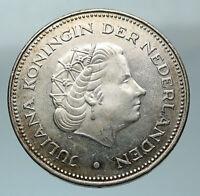 1970 Netherlands Kingdom Queen JULIANA & WILHELMINA Silver 10 Gulden Coin i84559