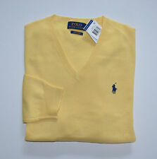 New Men's Polo Ralph Lauren V-Neck Pullover Sweater, Yellow, L, Large