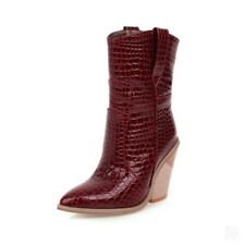 Women Cowboy Ankle Boots Thick 9.5 cm Heels Pointy Toe Shoes Pull On Casual New