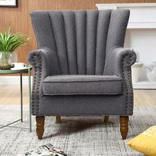 Wingback Tub Chair Fabric Ribbed Nailhead Queen Anne High Back Fireside Armchair