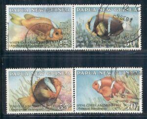 PAPUA NEW GUINEA 659-62 SG539-42 Used 1987 Anemone Fish set of 4 Cat$8