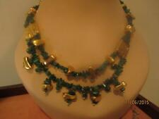 BIG VTG MALACHITE CHIP NECKLACE W/ ABSTRACT TEXTURED & ABSTRACT GOLD PL ACCENTS