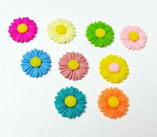 20 x Flower Cabochon Charms - Mixed Colours Resin Flat Back 27mm Decoden