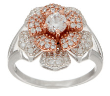 Diamonique 1.00Ct Sterling Silver Two-Tone Spinning Flower Ring Size 7 Qvc