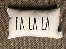 "Rae Dunn FA LA LA Christmas Holiday Pillow 14x22"" Oblong Black & White"