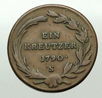1790's AUSTRIA w Archduke Joseph II VINTAGE Antique Kreuzer Austrian Coin i84905