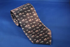 Men's Frangi Neck Tie Gray Elephant Print 100% Silk Made in Italy