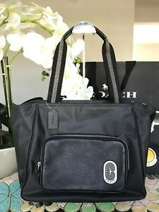 COACH Court Tote In Nylon With Coach Patch 91061 Sv/Black