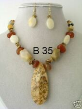 Stone and acrylic Beaded Necklace and Earring Set