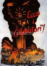 Vintage Italian WW2 Propaganda Poster Ecco I Liberatori