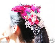 Hairpin Flower Feather Lace bag Accessories Party Beads Cute Leather Brooch New