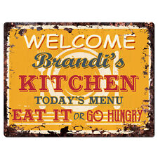 Ppkm0320 Brandi'S Kitchen Rustic Chic Sign Funny Kitchen Decor Birthday Gift
