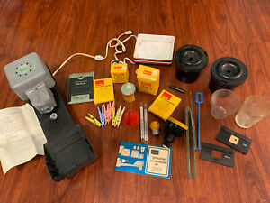 Vintage Dark Room Lab Accessories, Kodak Chemicals, Sears Photo Developing Kit.