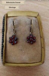 Antike Jugentstiel Böhmische Granat Ohrringe Diamant Rosenschliff in Tombak